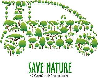 composto, car, símbolo, árvores, ecológico, verde