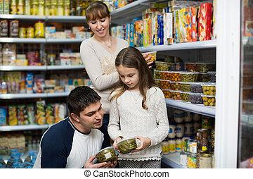 comprando, estanhado, pais, menina, jovem, pequeno
