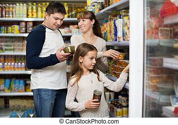 comprando, estanhado, pais, menina, pequeno, feliz