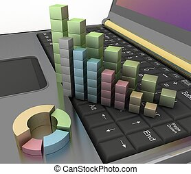 computador, crescimento, gráficos, teclado
