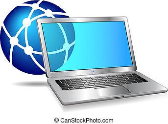 computador, internet, rede, ícone