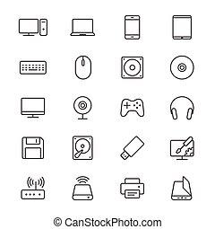 computador, magra, ícones
