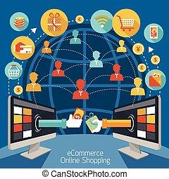 computador, shopping, monitor, online