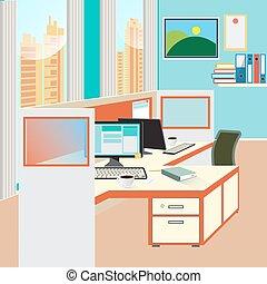 computador, trabalho escritório, papel, vetorial, lugar, fundo, documents.