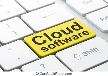 computando, computador, nuvem, fundo, teclado, concept:, software