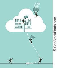 computando, nuvem, conceito, negócio