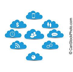 computando, nuvem, elementos, infographic, desenho, tecnologia
