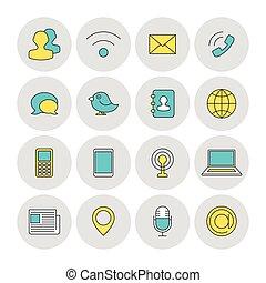 comunicação, ícones, esboço, apartamento