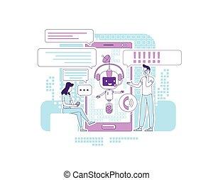 comunicação, bot, criativo, apoio, design., social, magra, online, caricatura, vetorial, linha, serviço, caráteres, conceito, 2d, illustration., pessoas, chatbot, teia, redes, falando, idéia, application., app