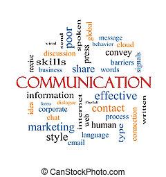 comunicação, conceito, palavra, nuvem