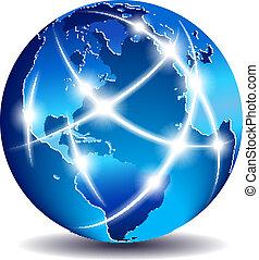 comunicação, global, mundo, comércio