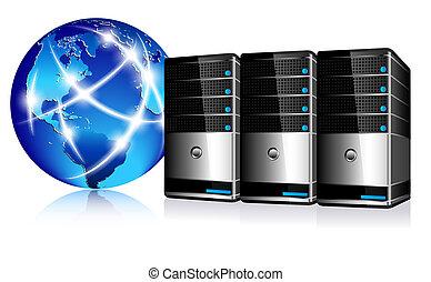 comunicação, servidores, internet