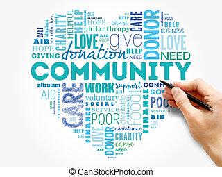 comunidade, coração, conceito, colagem, palavra, nuvem
