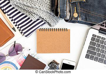 conceito, área negócio, trabalho, mapa, laptop, foco., seletivo, ter, smartphone.