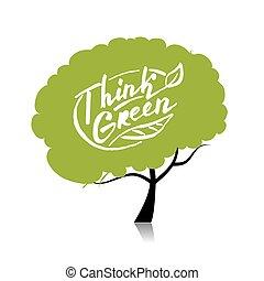 conceito, árvore, seu, desenho, green., pensar