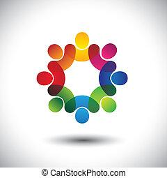 conceito, abstratos, executivo, crianças, pessoal, ficar, ícones, trabalhadores, circle., também, coloridos, gráfico, reunião, discussões, representa, escola brinca, este, união empregados, etc, vetorial, ou