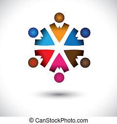 conceito, abstratos, junto, atividade, children(kids), predios, circle-, grupo, ícones, crianças, também, graphic., amizade, coloridos, ilustração, representa, este, multi-cor, etc, vetorial, equipe, tocando