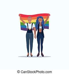 conceito, amor, parada, femininas, ficar, arco íris, festival, lésbica, mistura, segurando, orgulho, apartamento, cheio, par, lgbt, bandeira, caráteres, caricatura, mulheres, junto, comprimento, raça