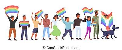 conceito, amor, parada, pessoas, celebrando, ficar, arco íris, grupo, festival, mistura, segurando, orgulho, apartamento, cheio, lgbt, bandeira, horizontais, junto, comprimento, raça, lésbicas, homossexuais