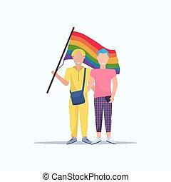 conceito, amor, parada, sexo, sorrindo, arco íris, festival, dois, mesmo, segurando, orgulho, apartamento, cheio, par, lgbt, bandeira, caráteres, sujeitos, caricatura, comprimento, homossexuais, macho