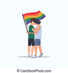 conceito, amor, parada, sorrindo, arco íris, festival, dois, segurando, orgulho, apartamento, cheio, par, lgbt, bandeira, caráteres, sujeitos, caricatura, comprimento, abraçar, homossexuais, beijando, macho