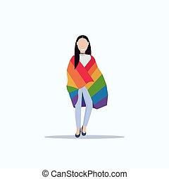 conceito, arco íris, mulher, amor, parada, apartamento, festival, personagem, bandeira, lgbt, comprimento, cheio, femininas, segurando, sorrindo, orgulho, caricatura