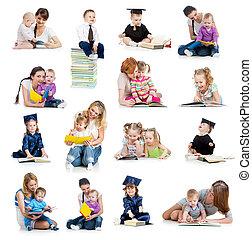 conceito, book., ou, cedo, crianças, cobrança, bebês, childhood., educação, leitura