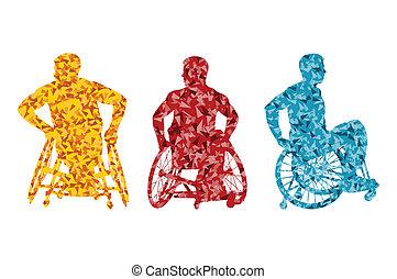 conceito, cadeira rodas, homens, incapacitado, vetorial, fundo, ativo