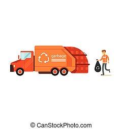 conceito, carregando, lixo, utilization, reciclagem, trabalhador, ilustração, saco, vetorial, lixo, caminhão, desperdício, cobrador