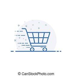 conceito, carro shopping, movimento, vetorial, ilustração, linha, style., ícone