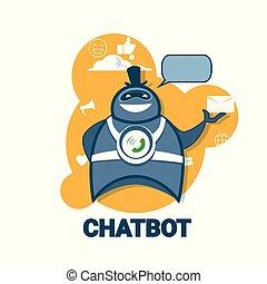 conceito, chatbot, bot, robô, aplicação, conversa, tecnologia digital, apoio, ícone