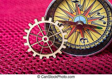 conceito, compasso, engenharia, roda engrenagem