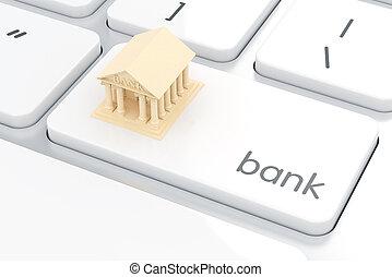 conceito, computador, e-banco, keyboard., branca, banco, ícone