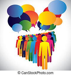 conceito, &, comunicação, companhia, -, vetorial, interação, empregados