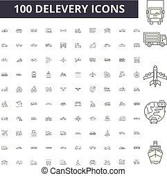 conceito, delevery, esboço, jogo, ícones, ilustração, vetorial, linha, sinais