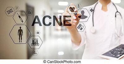 conceito, doutor, médico, acne, diagnóstico, cuidados de saúde, stethoscope.
