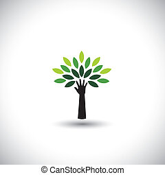 conceito, &, eco, -, folhas, árvore, mão, vetorial, verde, human, ícone