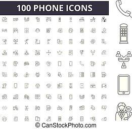conceito, esboço, jogo, ícones, ilustração, telefone, vetorial, linha, sinais