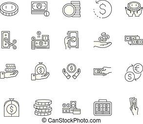 conceito, esboço, jogo, ícones, ilustração, vetorial, linha, sinais
