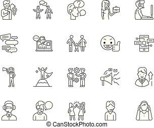 conceito, esboço, jogo, apoio, ícones, aquilo, ilustração, vetorial, linha, sinais