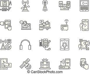 conceito, esboço, jogo, comunicação, ícones, ilustração, vetorial, serviços, linha, sinais