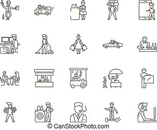 conceito, esboço, jogo, consumidor, ícones, ilustração, vetorial, linha, sinais