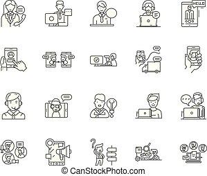conceito, esboço, jogo, helpdesk, ícones, ilustração, vetorial, linha, sinais