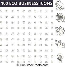 conceito, esboço, negócio, eco, ícones, ilustração, jogo, vetorial, linha, sinais