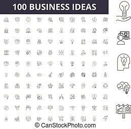 conceito, esboço, negócio, jogo, ícones, idéias, ilustração, vetorial, linha, sinais