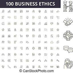conceito, esboço, negócio, jogo, ícones, ilustração, vetorial, ética, sinais, linha