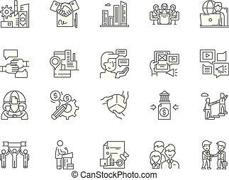 conceito, esboço, negócio, jogo, ícones, ilustração, vetorial, affiliate, linha, sinais