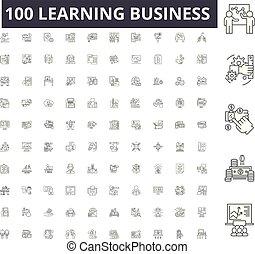 conceito, esboço, negócio, jogo, ícones, ilustração, vetorial, aprendizagem, linha, sinais