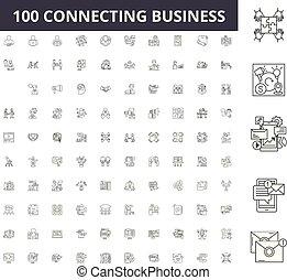 conceito, esboço, negócio, jogo, ícones, ilustração, vetorial, conectando, linha, sinais