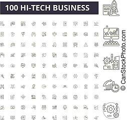 conceito, esboço, negócio, jogo, ícones, ilustração, vetorial, hitech, linha, sinais